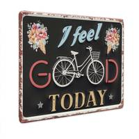 Blechschild Vintage Feel Good 20x30 cm Metallschild Spruch Happy Typografie Retro