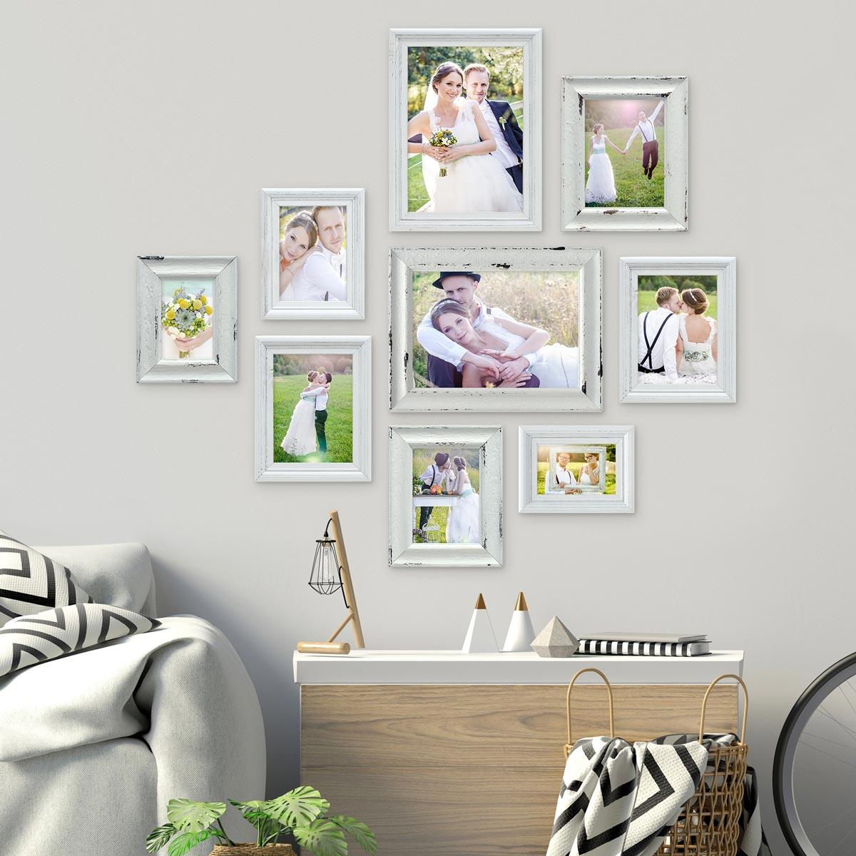 9er Set Vintage Bilderrahmen 10x15 bis 21x30 cm Weiss