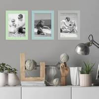 3er Set Bilderrahmen Grün Blau Grau 13x18 cm Massivholz mit Acrylglasscheibe / Fotorahmen / Wechselrahmen – Bild 2
