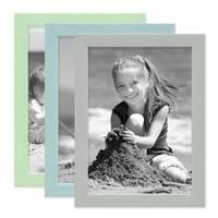 3er Set Bilderrahmen Grün Blau Grau 15x20 cm Massivholz mit Acrylglasscheibe / Fotorahmen / Wechselrahmen