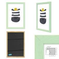 3er Set Bilderrahmen Grün Blau Grau 21x30 cm / DIN A4 Massivholz mit Acrylglasscheibe / Fotorahmen / Wechselrahmen – Bild 3