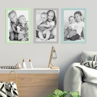 3er Set Bilderrahmen Grün Blau Grau 21x30 cm / DIN A4 Massivholz mit Acrylglasscheibe / Fotorahmen / Wechselrahmen – Bild 6