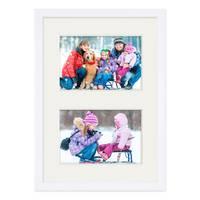 Fotocollage-Bilderrahmen 21x30 cm DIN A4 Modern Weiss MDF mit Acrylglas Collagerahmen Bildergalerie-Rahmen für 2 Bilder 10x15 cm Wechselrahmen mit Passepartout  – Bild 5