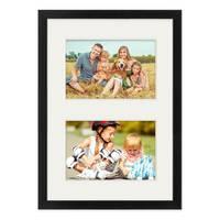 Fotocollage-Bilderrahmen 21x30 cm DIN A4 Modern Schwarz MDF mit Acrylglas Collagerahmen Bildergalerie-Rahmen für 2 Bilder 10x15 cm Wechselrahmen mit Passepartout