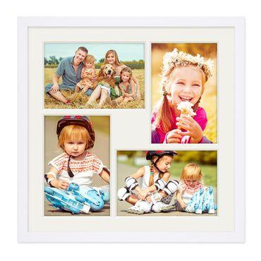 Fotocollage-Bilderrahmen 30x30 cm Modern Weiss MDF mit Acrylglas Collagerahmen Bildergalerie-Rahmen für 4 Bilder 10x15 cm Wechselrahmen mit Passepartout