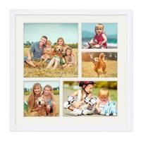 Collagerahmen 30x30 cm Modern Weiss für 5 Bilder Acrylglas