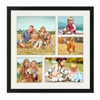 Fotocollage-Bilderrahmen 30x30 cm Modern Schwarz MDF mit Acrylglas Collagerahmen Bildergalerie-Rahmen für 5 Bilder Wechselrahmen mit Passepartout