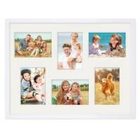 Fotocollage-Bilderrahmen 30x40 cm Modern Weiss MDF mit Acrylglas Collagerahmen Bildergalerie-Rahmen für 6 Bilder 9x13 cm Wechselrahmen mit Passepartout