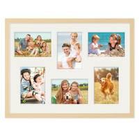 Fotocollage-Bilderrahmen 30x40 cm Modern Natur MDF mit Acrylglas Collagerahmen Bildergalerie-Rahmen für 6 Bilder 9x13 cm Wechselrahmen mit Passepartout