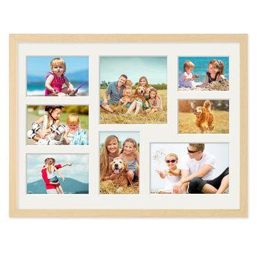 Fotocollage-Bilderrahmen 30x40 cm Modern Natur MDF mit Acrylglas Collagerahmen Bildergalerie-Rahmen für 8 Bilder Wechselrahmen mit Passepartout