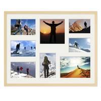Fotocollage-Bilderrahmen 40x50 cm Modern Natur MDF mit Acrylglas Collagerahmen Bildergalerie-Rahmen für 8 Bilder Wechselrahmen mit Passepartout  – Bild 3