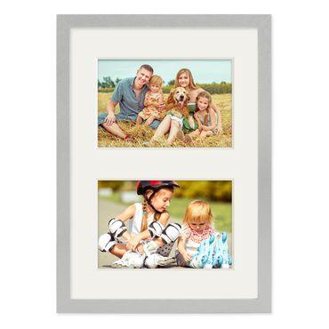 Fotocollage-Bilderrahmen 21x30 cm DIN A4 Modern Silber MDF mit Acrylglas Collagerahmen Bildergalerie-Rahmen für 2 Bilder 10x15 cm Wechselrahmen mit Passepartout