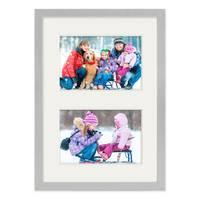 Fotocollage-Bilderrahmen 21x30 cm DIN A4 Modern Silber MDF mit Acrylglas Collagerahmen Bildergalerie-Rahmen für 2 Bilder 10x15 cm Wechselrahmen mit Passepartout  – Bild 5
