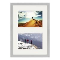 Fotocollage-Bilderrahmen 21x30 cm DIN A4 Modern Silber MDF mit Acrylglas Collagerahmen Bildergalerie-Rahmen für 2 Bilder 10x15 cm Wechselrahmen mit Passepartout  – Bild 2