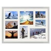 Fotocollage-Bilderrahmen 30x40 cm Modern Silber MDF mit Acrylglas Collagerahmen Bildergalerie-Rahmen für 8 Bilder Wechselrahmen mit Passepartout  – Bild 3