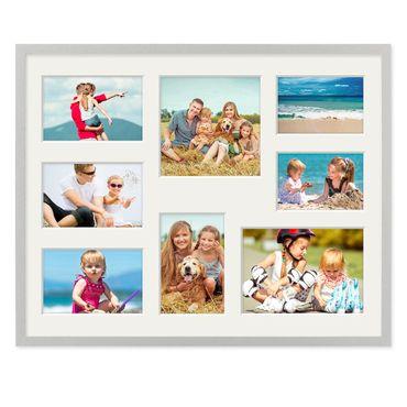 Fotocollage-Bilderrahmen 40x50 cm Modern Silber MDF mit Acrylglas Collagerahmen Bildergalerie-Rahmen für 8 Bilder Wechselrahmen mit Passepartout