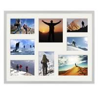 Fotocollage-Bilderrahmen 40x50 cm Modern Silber MDF mit Acrylglas Collagerahmen Bildergalerie-Rahmen für 8 Bilder Wechselrahmen mit Passepartout  – Bild 3