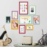 9er Set Bilderrahmen Bunt Massivholz mit Acrylglasscheibe 10x15 bis 21x30 cm / Fotorahmen / Bilderwand / Wechselrahmen / Farbmix – Bild 6