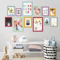 12er Set Bilderrahmen Bunt Massivholz mit Acrylglasscheibe 10x15 bis 21x30 cm / Fotorahmen / Bilderwand / Wechselrahmen / Farbmix – Bild 2