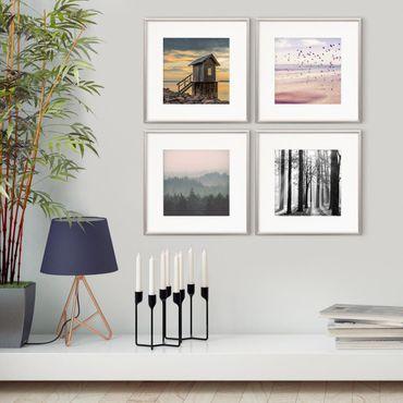 4er Set Alu-Bilderrahmen 30x30 cm mit Passepartout 20x20 cm Modern Silber Aluminium-Rahmen mit Acrylglas