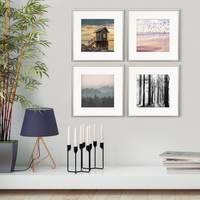 4er Set Alu-Bilderrahmen 30x30 cm Silber Modern mit Passepartout 20x20 cm