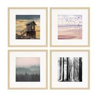 4er Set Poster-Bilderrahmen 30x30 cm mit Passepartout 20x20 cm Modern Natur aus MDF mit Acrylglas / Posterrahmen / Wechselrahmen