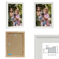 Bilderrahmen 3er Set Landhaus-Stil Traditionell 21x30 cm / DIN A4 Weiss │ Massivholz-Rahmen mit Echtglasscheibe  – Bild 2