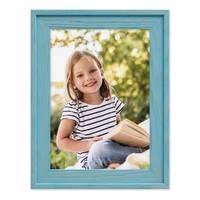 Bilderrahmen 3er Set Landhaus-Stil Traditionell 10x15 cm Blau mit Maserung │ Massivholz-Rahmen mit Echtglasscheibe – Bild 4
