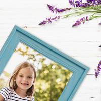 Bilderrahmen 3er Set Landhaus-Stil Traditionell 21x30 cm / DIN A4 Blau mit Maserung │ Massivholz-Rahmen mit Echtglasscheibe – Bild 3