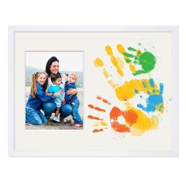 Collage-Bilderrahmen 30x40 cm Weiss mit Passepartout für 1 Bild 15x20 cm inkl. Fläche zum Selbst-Gestalten | Collagerahmen aus MDF mit Acrylglas