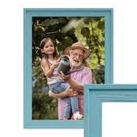 Bilderrahmen Landhaus-Stil Traditionell Blau Gemasert – Bild 1