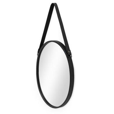 Spiegel Oval Schwarz mit Lederband 35x45 cm | Wand-Spiegel mit Metallrahmen