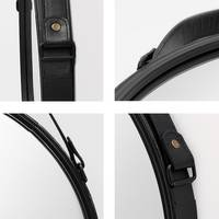 Spiegel Rund Schwarz mit Lederband 40 cm Durchmesser   Runder Wand-Spiegel mit Metallrahmen – Bild 3