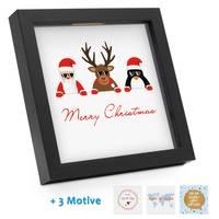 Bilderrahmen-Spardose Geldgeschenk Weihnachten Schwarz Vier Motive