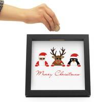 Bilderrahmen-Spardose Schwarz Weihnachten Geldgeschenk mit 4 austauschbaren Motiven | Merry Christmas – Bild 2