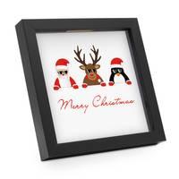 Bilderrahmen-Spardose Schwarz Weihnachten Geldgeschenk mit 4 austauschbaren Motiven | Merry Christmas – Bild 3