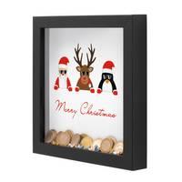 3D Bilderrahmen-Spardose Schwarz Weihnachten Geldgeschenk mit 4 austauschbaren Motiven | Merry Christmas
