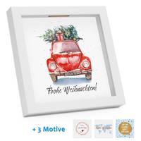 Bilderrahmen-Spardose Weihnachten Geldgeschenk Auto Weiss 4 Motive