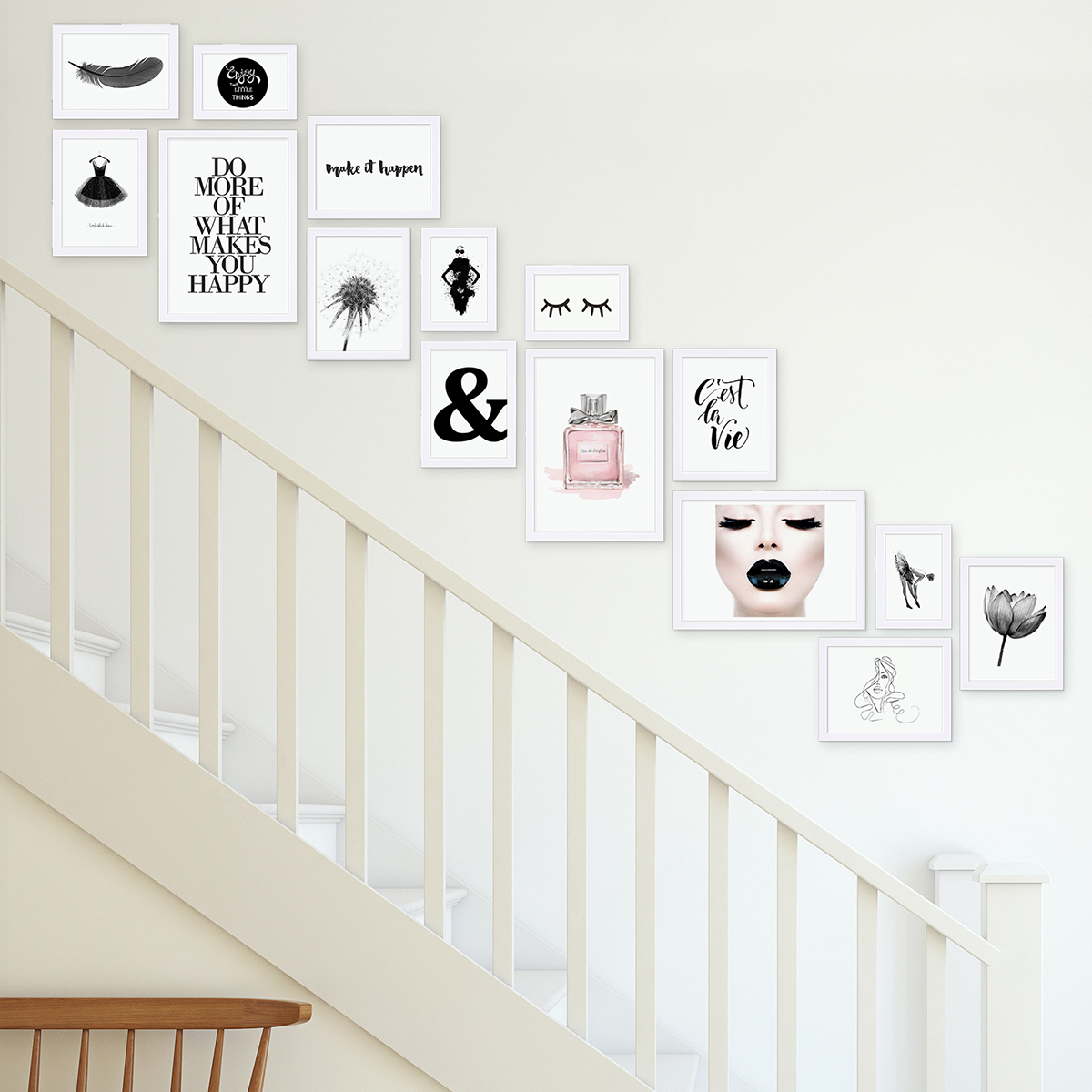 [Bundle] Photo Frame Set Modern Silver 50 Pack Multi Picture Photo Frames  Wall Basic Collection made from MDF including Accessories / Photo Collage /  ...