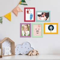5er Set Bilderrahmen Bunt 13x18 cm Massivholz mit Acrylglasscheibe / Fotorahmen / Wechselrahmen – Bild 2
