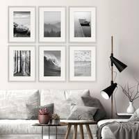 6er Set Poster-Bilderrahmen 30x40 cm Modern Silber MDF mit Passepartout