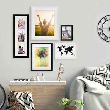 5er Bilderrahmen-Set Schwarz-Weiss 15x20 bis 40x50 cm inkl. Zubehör | Bildergalerie | Bilderwand | Wandgalerie