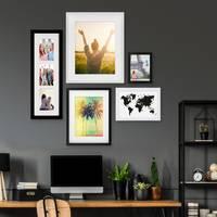5er Bilderrahmen-Set Schwarz-Weiss 15x20 bis 40x50 cm inkl. Zubehör | Bildergalerie | Bilderwand | Wandgalerie – Bild 4