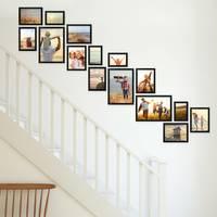 15er Bilderwand Treppenhaus Schwarz Massivholz