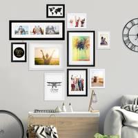 10er Bilderrahmen-Set Schwarz-Weiss 13x18 bis 30x40 cm inkl. Zubehör | Bildergalerie | Bilderwand | Wandgalerie