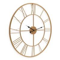 Wanduhr Gold Antik 60 cm Durchmesser Römische Ziffern ohne Tickgeräusche | Metall-Wanduhr Groß XXL