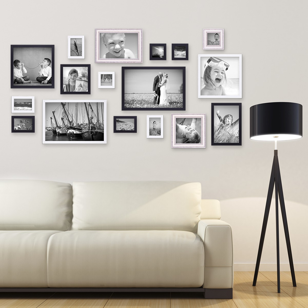 17er set bilderrahmen f r grosse bilderwand massivholz gr en 10x10 bis 30x45 cm inkl zubeh r. Black Bedroom Furniture Sets. Home Design Ideas
