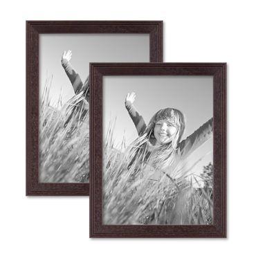 2er Set Landhaus-Bilderrahmen 15x20 cm Nuss Massivholz mit Glasscheibe und Zubehör / zum Stellen oder Hängen / Fotorahmen
