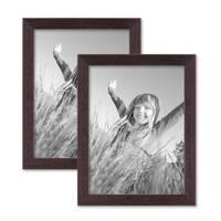 2er Set Landhaus-Bilderrahmen 15x20 cm Nuss Massivholz mit Glasscheibe und Zubehör / zum Stellen oder Hängen / Fotorahmen  – Bild 1