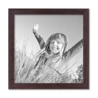 2er Set Landhaus-Bilderrahmen 20x20 cm Nuss Massivholz mit Glasscheibe und Zubehör / Fotorahmen  – Bild 4